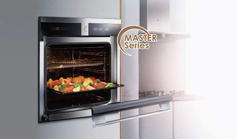 Freshly baked chicken on a baking tray in FOTILE Master Series of Oven with door open