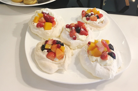 Mini Pavlova with Strawberries and Almond Silvers